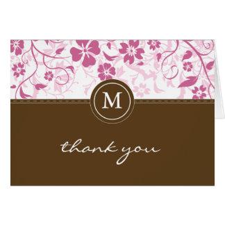 Rosa Brown-mit Blumenmonogramm danken Ihnen zu Karte