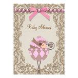 Rosa Brown perlt Spitze-Mädchen-Babyparty Individuelle Ankündigungskarte