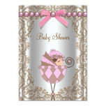 Rosa Brown perlt Spitze-Mädchen-Babyparty Personalisierte Ankündigungskarten