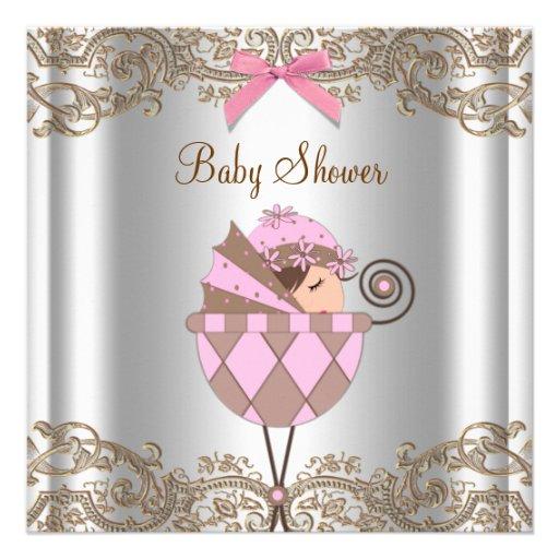 Rosa Brown-Spitze-Mädchen-Babyparty Individuelle Einladungen
