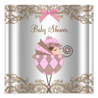 Rosa Brown-Spitze-Mädchen-Babyparty Quadratische 13,3 Cm Einladungskarte