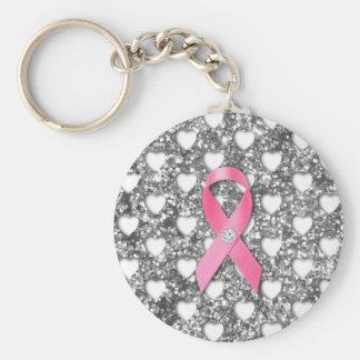 Rosa Brustkrebs-Band-Silber-Glitter-Blick Standard Runder Schlüsselanhänger