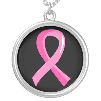 Rosa Brustkrebs Schleife 3 Halskette Mit Rundem Anhänger