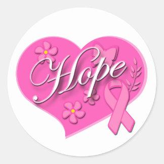 Rosa Brustkrebs Schleife HOFFNUNG Herz-runder Runder Aufkleber
