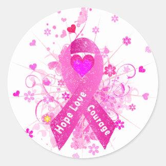 Rosa Brustkrebs Schleife Runder Aufkleber
