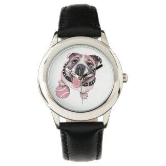 Rosa Bulldogge mit Ball-Uhr Armbanduhr