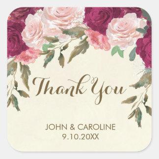 rosa Burgunderblumenhochzeit danken Ihnen Quadratischer Aufkleber