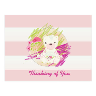 Rosa Cabana Striped Gekritzel-Teddybär Postkarte