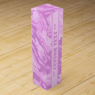 Rosa Camouflage mit kundenspezifischem Text Wein-Geschenkverpackung