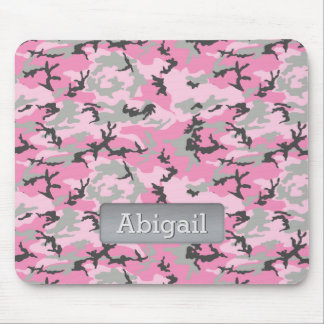 Rosa Camouflage-Muster-personalisierter Name Mousepad