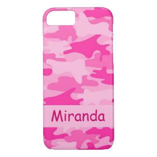 Rosa Camouflage-Tarnungs-Name personalisiert iPhone 8/7 Hülle
