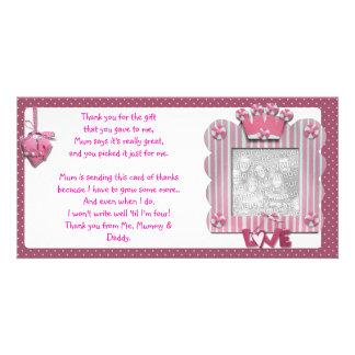 Rosa candystripe Rahmen danken Ihnen, vom Baby zu  Individuelle Photo Karten