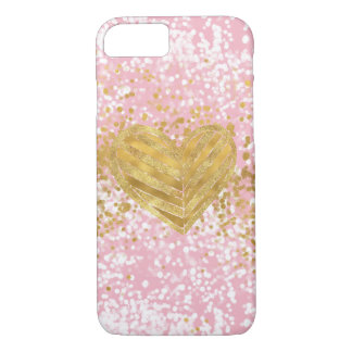 Rosa Chic-funkelnd GoldherzConfetti iPhone 8/7 Hülle