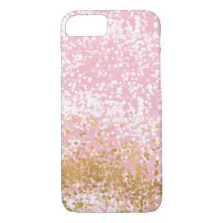 Rosa Chic-funkelnd Goldsprudelnder Confetti iPhone 8/7 Hülle