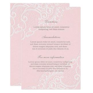 Rosa Chic-Vintage elegante Spitze-Hochzeit 12,7 X 17,8 Cm Einladungskarte