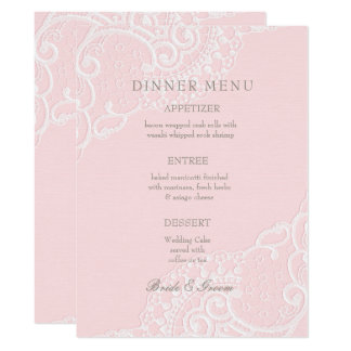 Rosa Chic-Vintages elegantes Spitze-Hochzeits-Menü 16,5 X 22,2 Cm Einladungskarte