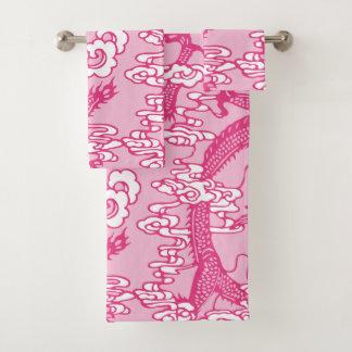 Rosa chinesisches Drache-Muster Badhandtuch Set
