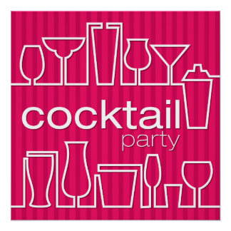 Rosa Cocktail-Party Perfektes Poster