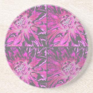 Rosa Collagen-Dahlie-Blumen-Muster Sandstein Untersetzer