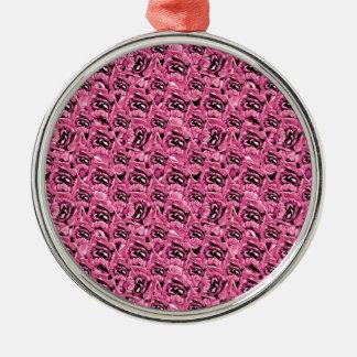 Rosa Collagen-mit Blumenmuster Rundes Silberfarbenes Ornament