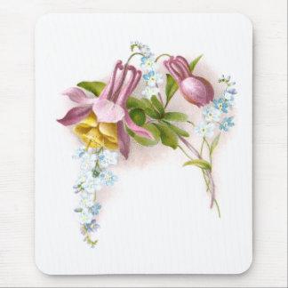 Rosa Columbine-Blumen-viktorianische Mousepad