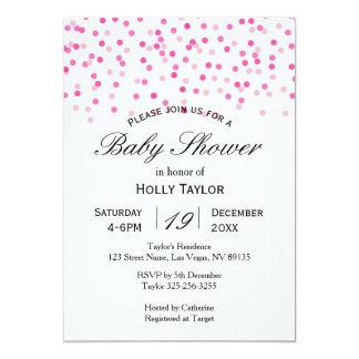 Rosa Confetti-Babyparty-Einladung Karte