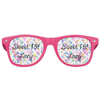 Rosa Confettibonbon 16 punktiert retro Sonnenbrille
