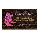 Rosa Cowboy Stiefel-Western Thema Visitenkartenvorlage