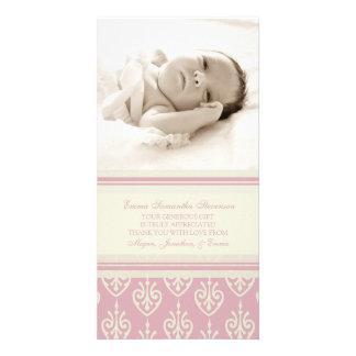 Rosa Creme danken Ihnen Baby-Duschen-Foto-Karten Fotogrußkarten