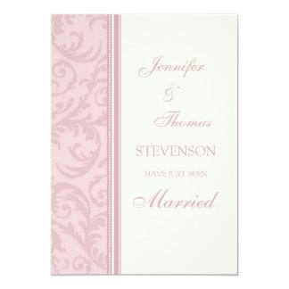 Rosa Creme-gerade verheiratete Mitteilungs-Karten 12,7 X 17,8 Cm Einladungskarte