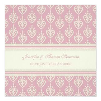 Rosa Creme-gerade verheiratete Mitteilungs-Karten Quadratische 13,3 Cm Einladungskarte