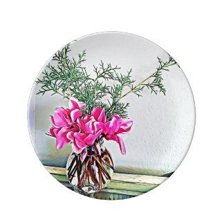 Rosa Cyclamen, Blumenstrauß - dekorative Platte Porzellanteller