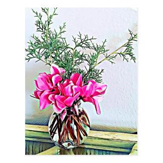 Rosa Cyclamen, Blumenstrauß - glückliche Postkarte