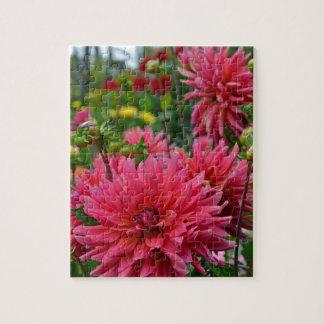 Rosa Dahlie-Blumengarten Puzzle
