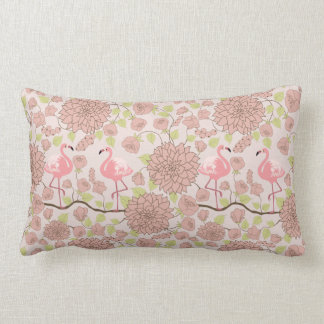 Rosa Dahlie, Flamingomuster Lumbarkissen Lendenkissen