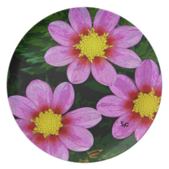 Rosa Dahlie-Melamin-Platte Teller