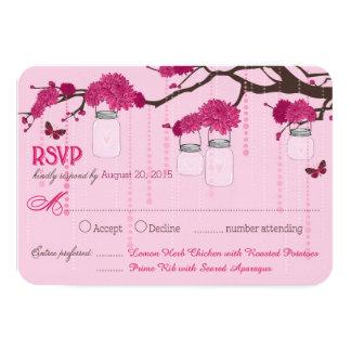 Rosa Dahlie-Schmetterlings-Niederlassungs-Gläser 8,9 X 12,7 Cm Einladungskarte
