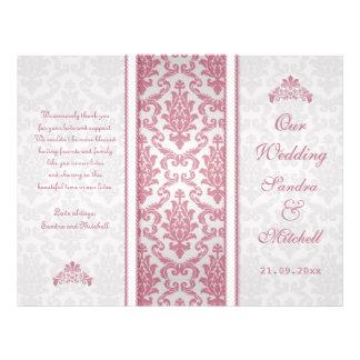 Rosa Damast auf silberne Hochzeits-Programm Bedruckte Flyer