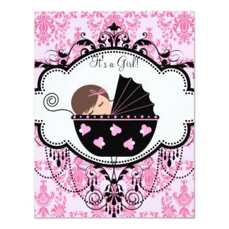 Rosa Damast-Baby-Dusche Personalisierte Ankündigungskarten