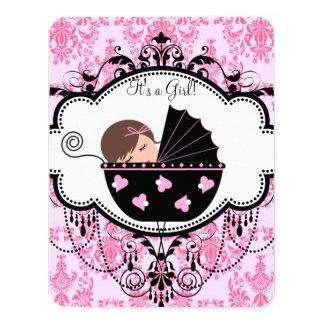 Rosa Damast-Baby-Dusche 10,8 X 14 Cm Einladungskarte