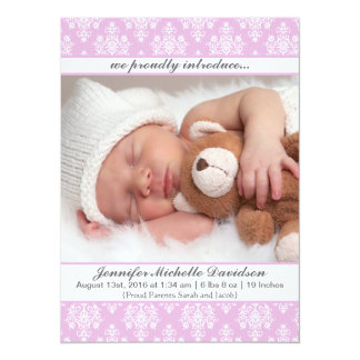 Rosa Damast-Baby-Geburts-Mitteilungen Karte
