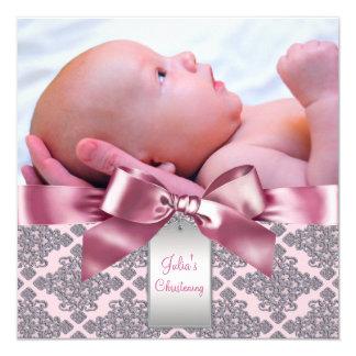 Rosa Damast-Baby-Mädchen-Foto-Taufe Quadratische 13,3 Cm Einladungskarte