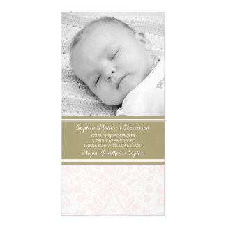 Rosa Damast danken Ihnen Baby-Duschen-Foto-Karten Foto Karte