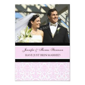 Rosa Damast-Foto-gerade verheiratete 12,7 X 17,8 Cm Einladungskarte