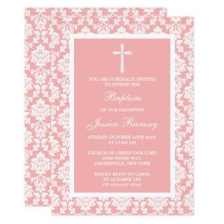Rosa Damast-Kreuz-Taufe oder Taufe Karte