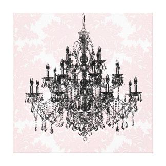 Rosa Damast-Leuchter-Leinwand-Kunst Leinwanddruck