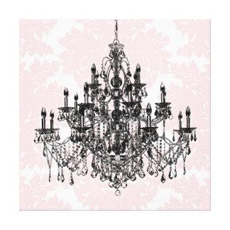 Rosa Damast-Leuchter-Leinwand-Wand-Kunst Leinwanddruck