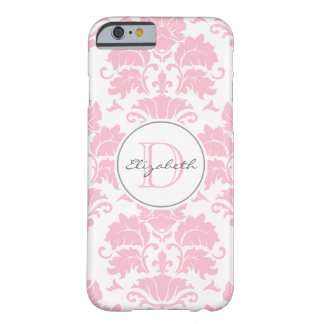 Rosa Damast mit Monogramm iPhone 6 Fall Barely There iPhone 6 Hülle
