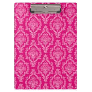Rosa Damast-Muster-Druckentwurf Klemmbrett