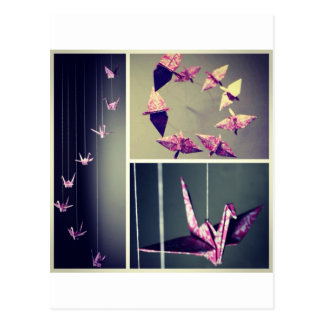 Rosa Damast origami Kran-Spiralenmobile Postkarte
